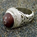 انگشتر عقیق باباقوری تک و خاص مردانه درشت سنتی اصیل _کد:1396