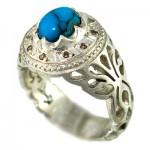 انگشتر فیروزه مصری و الماس مردانه فاخر _کد:1410