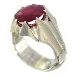 انگشتر یاقوت سرخ مردانه درشت فاخر _کد:1429