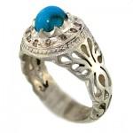 انگشتر فیروزه مصری و الماس مردانه باشکوه _کد:1436