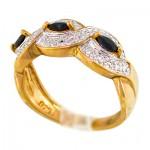 انگشتر یاقوت کبود و الماس زنانه مانی ایتالیایی مدل بافت _کد:10023