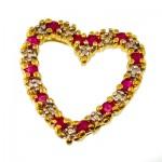 گردنبند یاقوت سرخ زنانه مانی ایتالیایی مدل گلریز قلبی _کد:10053