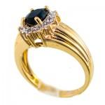 انگشتر یاقوت کبود و الماس زنانه مانی ایتالیایی مدل شکوفه _کد:10056