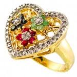 انگشتر چند جواهر یاقوت و زمرد زنانه مانی ایتالیایی مدل قلب _کد:10069