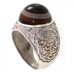 انگشتر عقیق باباقوری سه پوسته مردانه درشت علی (ع) _کد:10404