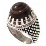 انگشتر عقیق باباقوری سه حلقه مردانه درشت مدل سوهانی _کد:10405
