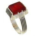 انگشتر عقیق قرمز مردانه مربعی _کد:10577