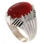 انگشتر عقیق قرمز مردانه درشت مدل آراد _کد:10631