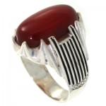 انگشتر عقیق قرمز مردانه درشت مدل کیان _کد:10647