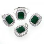 سرویس نقره زنانه نگین سبز مدل السا _کد:10658