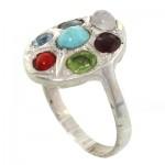 انگشتر چند جواهر زنانه بیضی _کد:10733