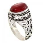 انگشتر عقیق قرمز مردانه مدل اسلیمی _کد:10754