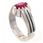 انگشتر یاقوت سرخ مردانه مدل کلاسیک شیاردار _کد:10773