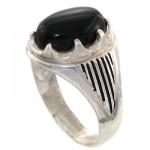 انگشتر عقیق سیاه (اونیکس) مردانه مدل هلالی _کد:10842