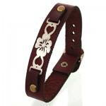 دستبند نقره و چرم طبیعی مدل گل _کد:10854