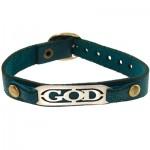 دستبند نقره و چرم طبیعی مدل GOD _کد:10878
