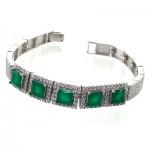 دستبند جید سبز زنانه نگین دار مدل مربعی _کد:11012