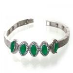 دستبند جید سبز زنانه نگین دار مدل بیضی _کد:11014