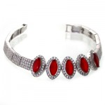 دستبند جید سرخ زنانه نگین دار مدل بیضی _کد:11016