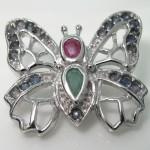 گردنبند چند جواهر پروانه یاقوت، زمرد