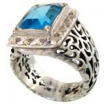 انگشتر توپاز شفاف مردانه فاخر دور الماس مجلسی _کد:1659