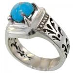 انگشتر فیروزه نیشابوری شجری قدیمی مردانه اسلیمی _کد:11631
