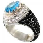 انگشتر توپاز و الماس ناب مردانه قلم زنی فاخر و مجلسی _کد:1698