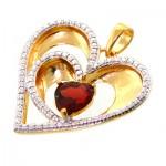 گردنبند یاقوت گارنت تاپ و الماس زنانه مانی ایتالیایی مدل قلب _کد:11678