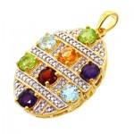 گردنبند چند جواهر  زنانه با زنجیر مانی ایتالیایی _کد:11701