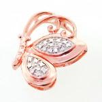 گردنبند الماس  زنانه با زنجیر مانی ایتالیایی مدل شاپرک _کد:11711