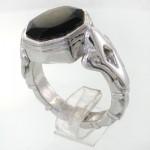 انگشتر عقیق سیاه (اونیکس) خراسانی مردانه درشت الماس تراش _کد:11730