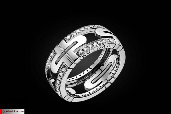 انگشتر طلای سفید و الماس بولگاری