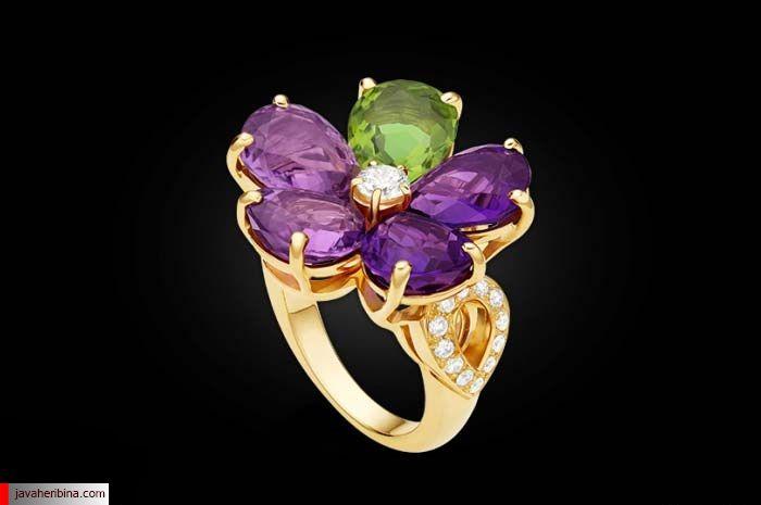 انگشتر طرح گل با سنگ های جواهر و الماس