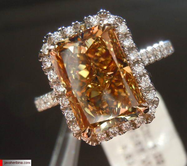 انگشتر با نگین الماس قهوه ای