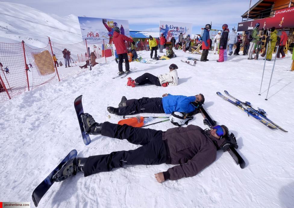 Iranian skiers rest at the Dizin ski resort, northwest of Tehran