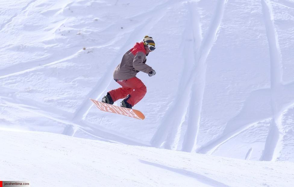 Iranian man snowboards at the Dizin ski resort, northwest of Tehran