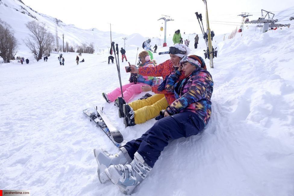 Iranian women take a selfie at the Dizin ski resort, northwest of Tehran