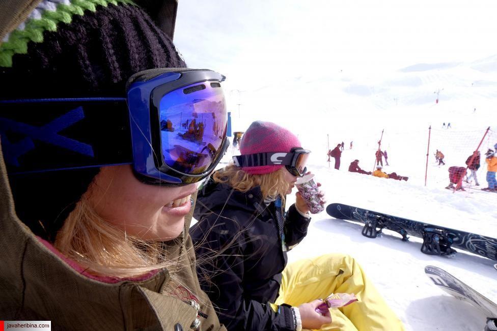 Iranian women rest at the Dizin ski resort, northwest of Tehran