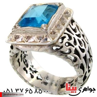 انگشتر توپاز شفاف مردانه فاخر دور الماس مجلسی