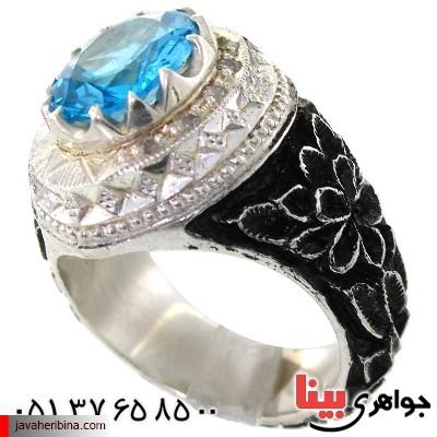 انگشتر توپاز و الماس ناب مردانه قلم زنی فاخر و مجلسی