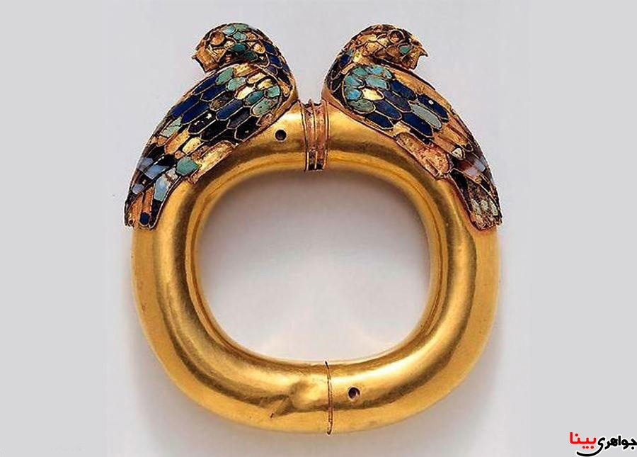 دستبند طلا با اردک های لاجوردی