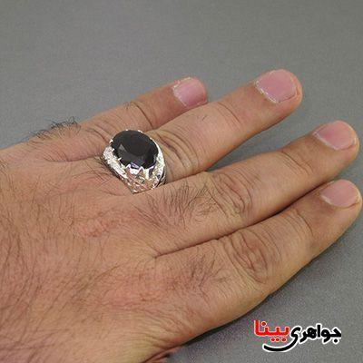 انگشتر نقره مردانه یاقوت گارنت